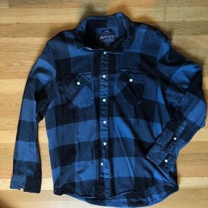 American Rag Men's Blue Plaid Flannel Long Sleeve